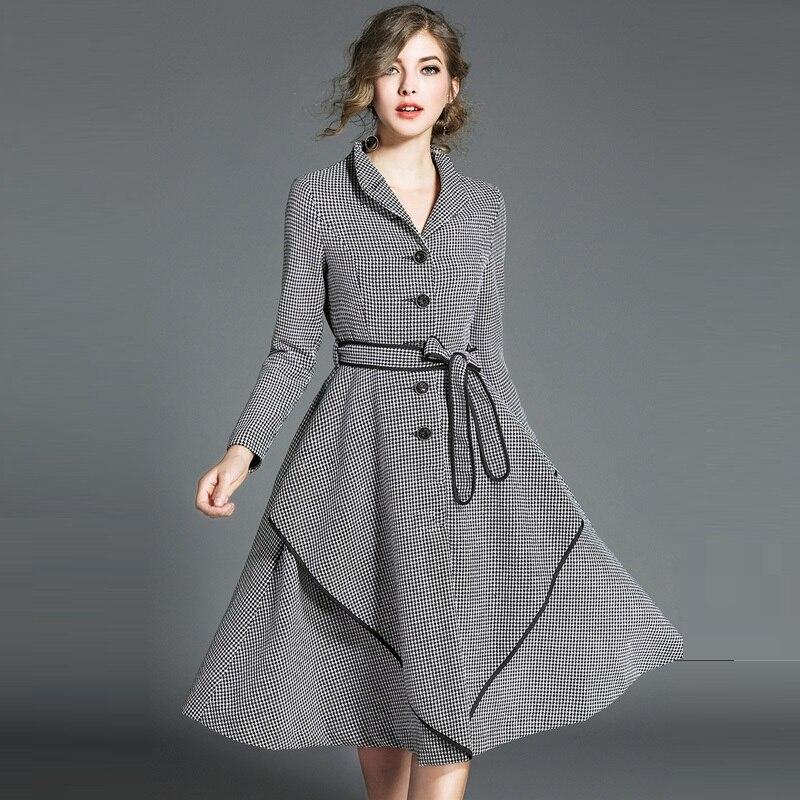Et Work 1 Élégante Manches Nouveau Bureau De Robes Dames Automne Noir 2018 Longues Femmes À A ligne Mode Printemps Robe Blanc Wear Plaid OxUwnpBqI