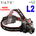 The newest LED CREE XM-L2 Headlight 4000 Lumens Headlamp Zoomable Head Light Rechargeable Head Lamp for Camping Fishing