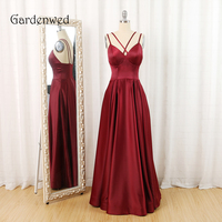 Gardenwed Burgundy Long Dress Evening Elegant Criss Cross Satin A Line Formal Gown Dresses abiye elbise