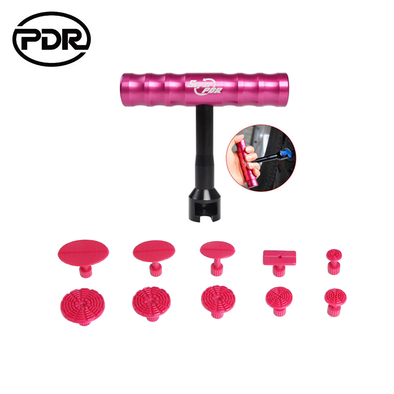 PDR Tools Dent Puller Kit Paintless Dent Repair Tools Dent Removal Mini Hand Lifter Small Red T-Bar