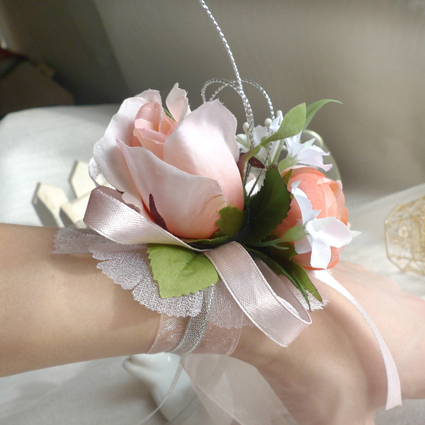Wedding Or Prom Wrist Corsage 10colors Silk Rose And Ribbons White Blue Champagne Red Purple Pink 6pcs Lot In Artificial Dried Flowers From