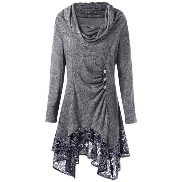 Wipalo плюс Размеры осень Для женщин блузки с длинным рукавом шарф воротник Лоскутные рубашки АСИММЕТРИЧНЫМ ПОДОЛОМ повседневная женская обувь Длинные блузка рубашка