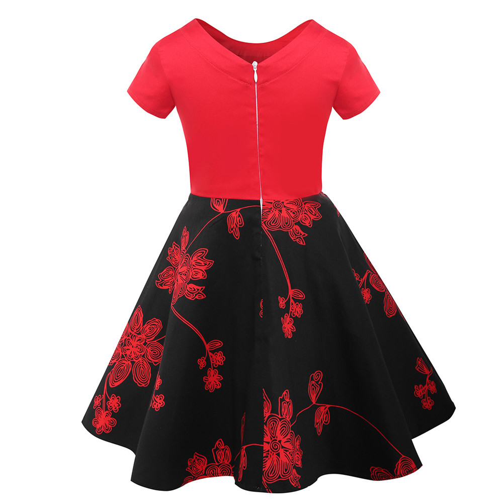 f7ad6927a108 Floral Flowers Print Dress Girls Summer Clothes Red with Black Short Sleeve  Kids Girls Cotton Dresses. sku: 32856025026