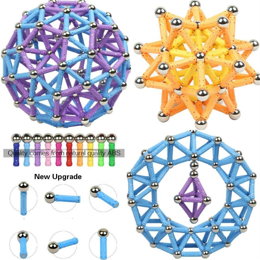Top Magnetic designer toys for children magnetic constructor metal balls magnet bars models kids building Toys For Children DIY цена
