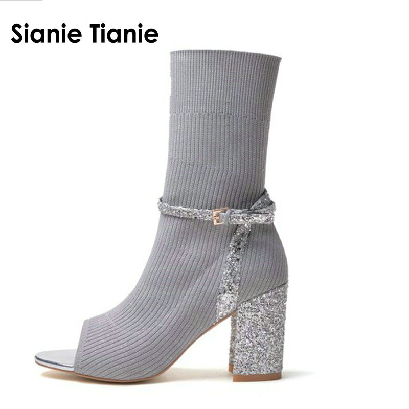 Sianie Tianie Shiny knitted sock shoes for women bling bling sequins peep toe High Heels Elastic Stretch Ankle Boots Women pumps