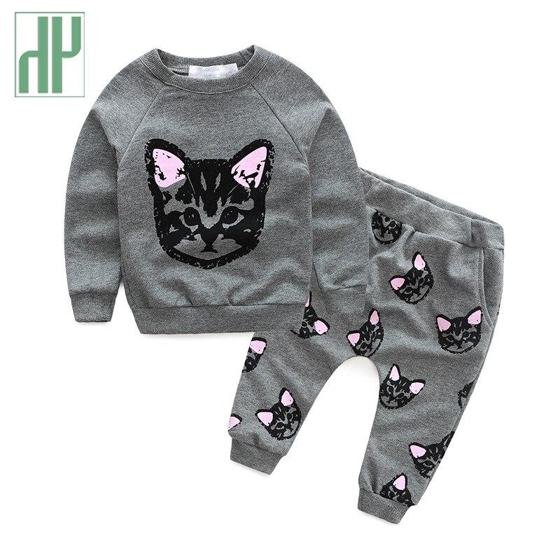 HH Rrobat e fëmijëve të markave të veshjeve për vajzat vendosin pantallona të gjera për vajzat me mace të shtypura kostum për fëmijë Rastesisht kostum sportiv për vajza për fëmijë