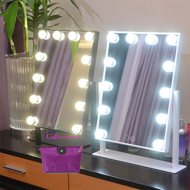 Hollywood Makeup Vanity Mirror with Light Tabletops Lighted Mirror ...