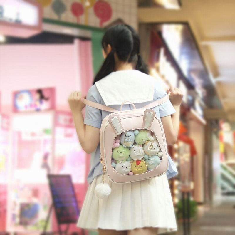 Cute Cat przezroczysty kobiet plecaki pcv galaretki kolor Student torby szkolne moda Ita nastoletnich dziewcząt torby do szkoły plecak w Plecaki od Bagaże i torby na  Grupa 1
