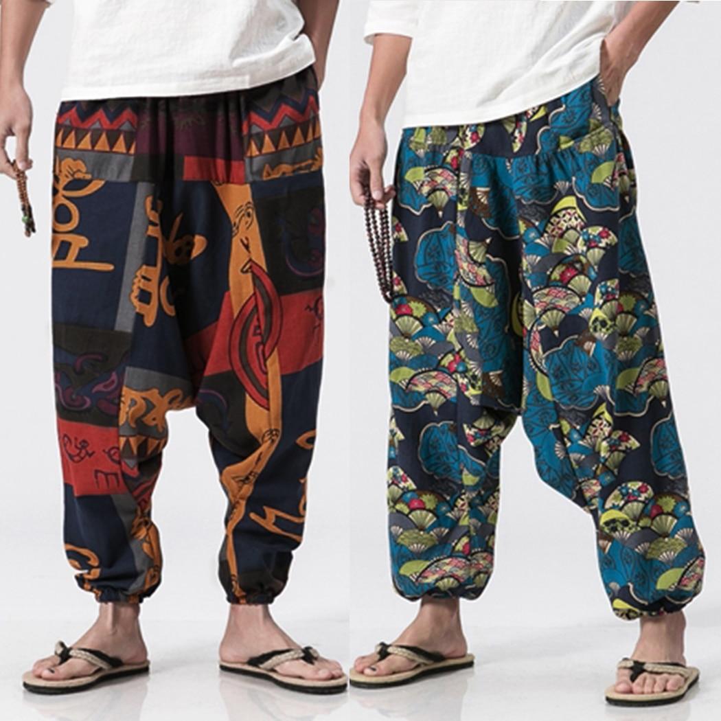 Men Cotton Linen Harem Pants Vintage Hip Hop Baggy Wide Leg Pants Streetwear Plus Size Printed Boho Trousers Male Cross Pants Блузка