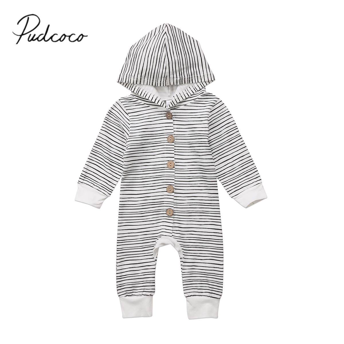 2018 Brand New Toddler Newborn Baby Boy Girl Warm Infant Romper Striped Jumpsuit Hooded Clothes Long Innrech Market.com
