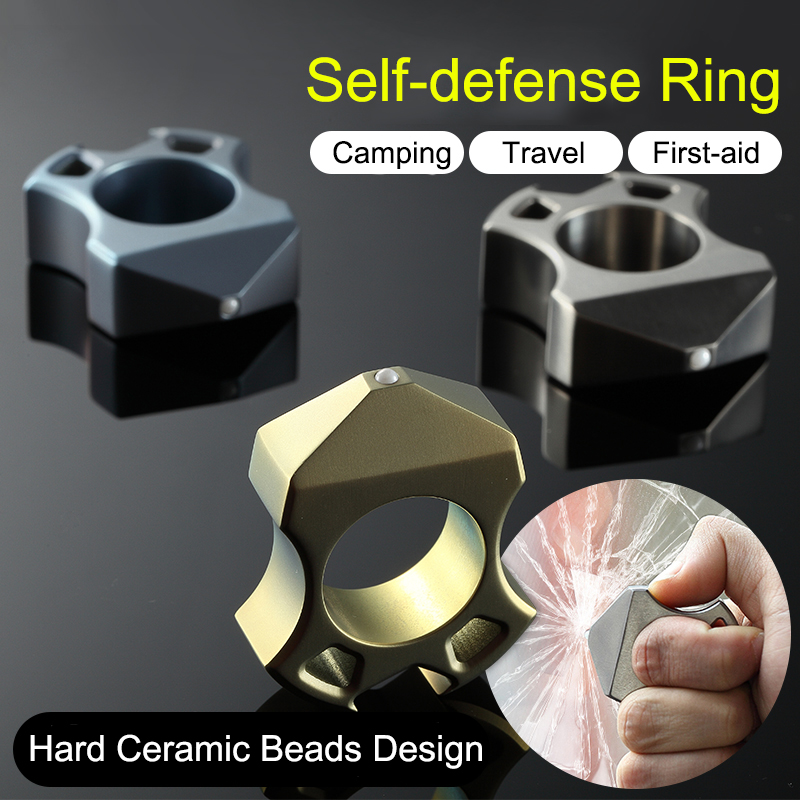 New 2018 Outdoor Tactical Necklace Self-Defence Titanium Alloy Ring Finger Defense Ring Necklace Tool EDC Camping Equipment