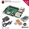 Kit Raspberry Pi 3 Modelo B Placa padrão PI3 Grosa 1 GB de RAM quad core com adaptador ac fonte de alimentação 5 v 2.5a do dissipador de calor com caso