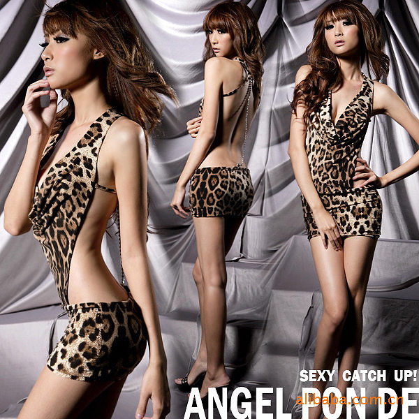 Buy Sexy lingerie Leopard chained Lingerie Sexy Catwoman hanging skirt suit (non cotton yarn) sexy pajamas A406