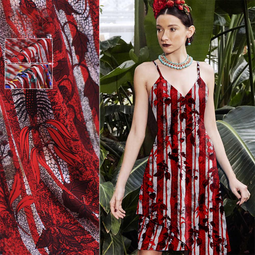 Роскошная красная синяя растительная полоса Печать стрейч-шелковая ткань для платья рубашка матовый натуральный шелк ткань тела tejido одежда 19 мм SP5587