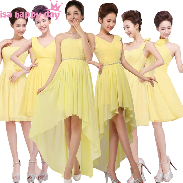 Us 26 88 5 Off 2019 New Arrival Short Yellow Women Chiffon Beautiful And Sexy Bridesmaid Dress New Fashion To Party Bridesmaids Dresses In