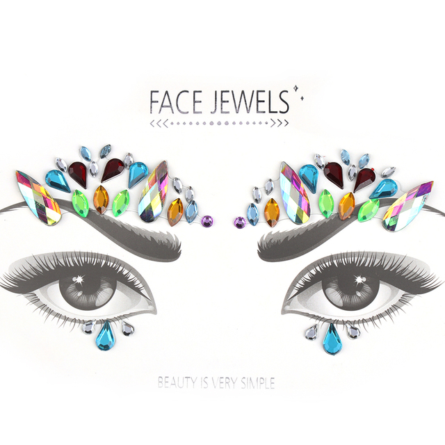 Fashion DIY Adhesive Face Gems Rhinestone Temporary Tattoo Jewels Festival  Party Body Glitter Stickers Makeup Xmas Decor 2ce57efe0a8a