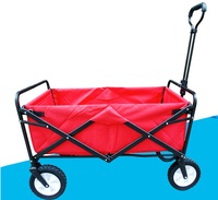 Folding 4 Wheel Wagon Trolley With Lining Foldable Collapsible Cart Sports Garden