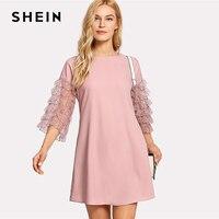 SHEIN Ruffle Lace Sleeve Tunic Shift Dress Pink Round Neck 3 4 Sleeve Plain Dress 2018