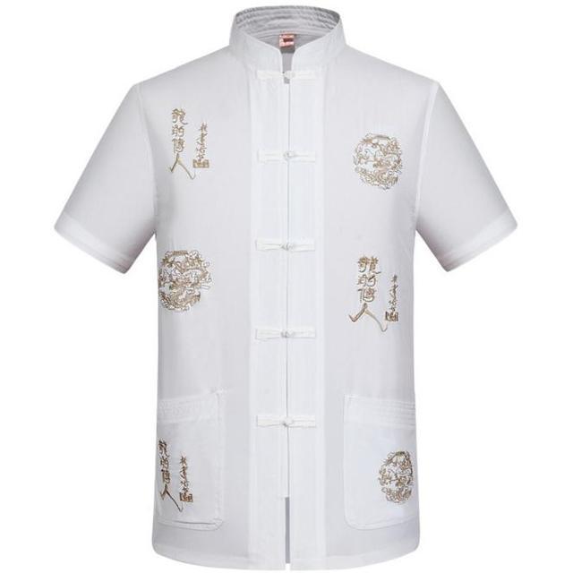 Venda quente de Verão homens Chineses Dragão Bordado Camisa Branca Salão Algodão roupa de Kung fu Tai Chi Camisa M L XL XXL XXXL MS083