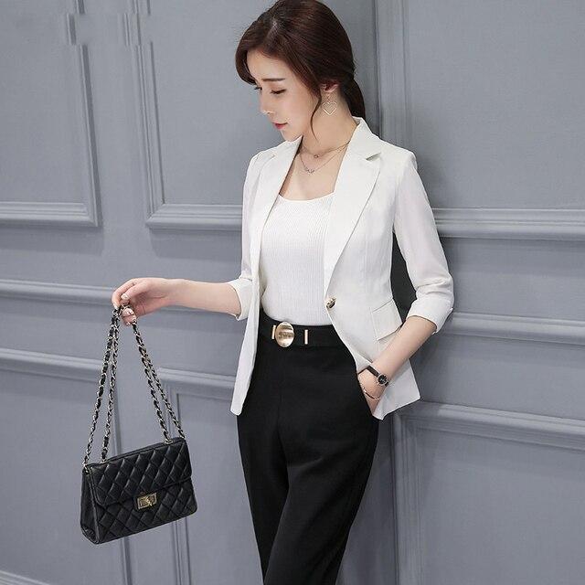 d3099e5f5 Mujeres blazer trabajo negro tres cuarto manga spliced Trajes para mujeres  Oficina ol estilo de las