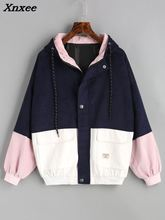Xnxee Winter Warm Color Block Hooded Corduroy Jacket Drawstring Hit Color Patched Pocket Thick Basic Women Coat Harajuku New