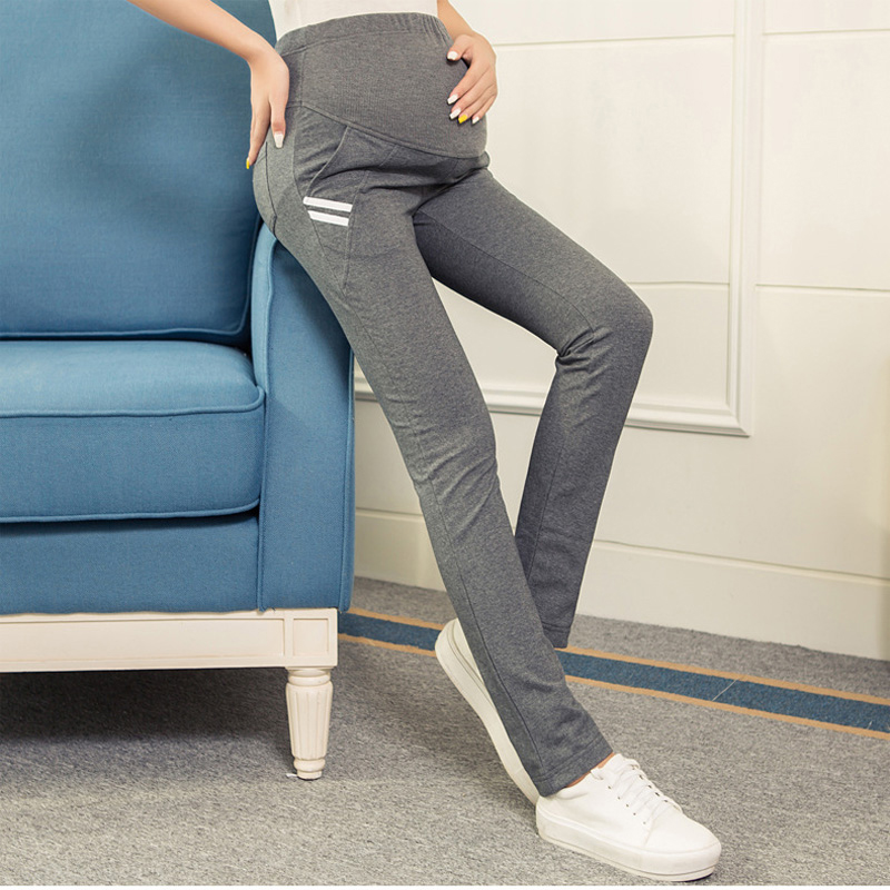 7e765873e Pantalones de maternidad de algodón para las mujeres embarazadas Otoño  Invierno Casual elástico cintura deportes pantalones embarazo pantalones  ropa