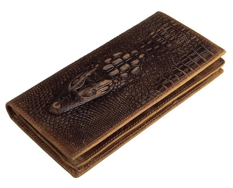 Genuine Leather Men Wallets Crocodile Cow Leather Wallet Coffee Fashion Men Purse Crazy Horse Leather Long designer #MD-J8030