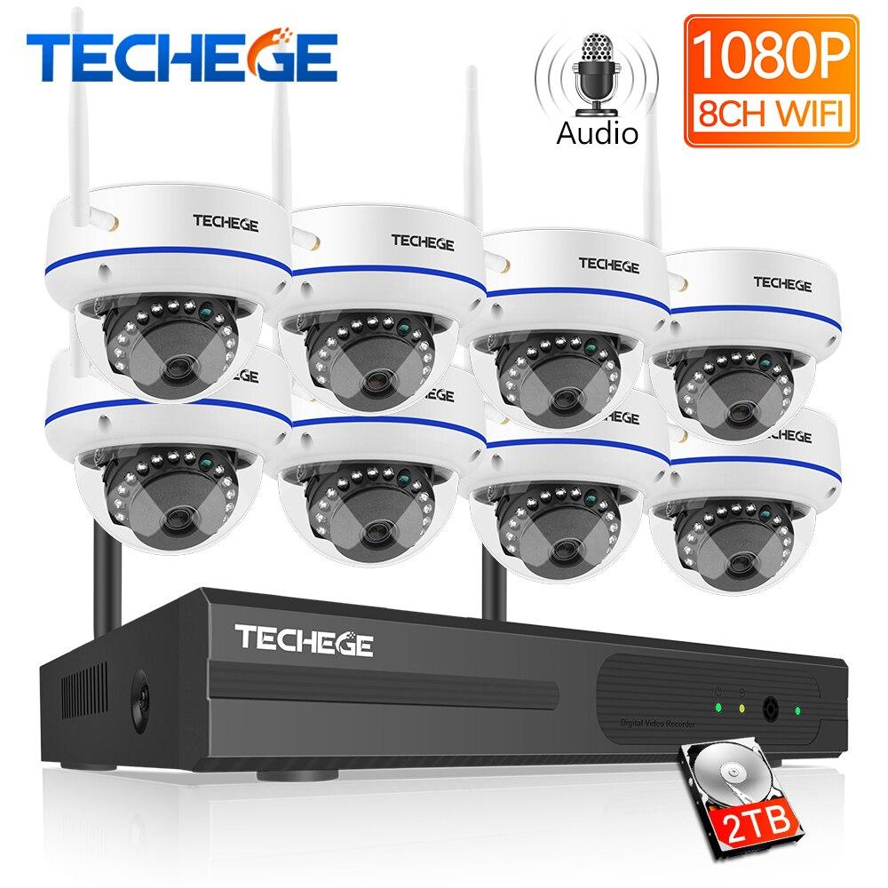 Techege 8CH HD1080P Sans Fil Caméra CCTV Système Sans Fil NVR Caméra Dôme Anti-Vandalisme Système de Sécurité À Domicile WIFI Surveillance Kit