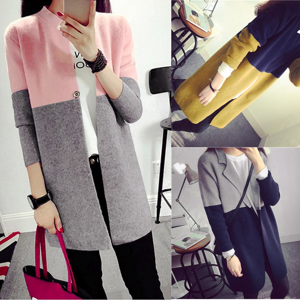 Winter Womens Long Jackets Autumn Warm Slim Ladies Coat Outwear TOP cashmere cardigan long sweater