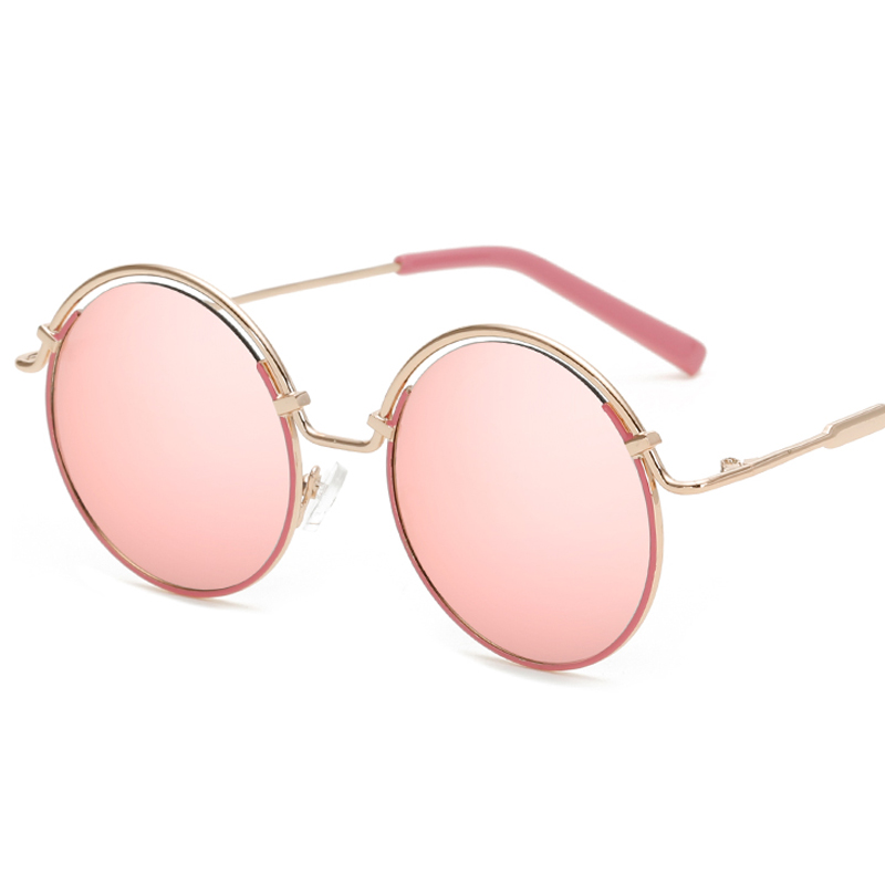 F.J4Z Top Trendy Lady's Sunglasses Fashion Candy Color Coating Mirrors Round Alloy Frame Sun Glasses Shades UV 400