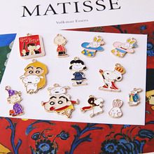 10pcs Alloy enamel Rabbit Dog Book Charms Cat Pendants Cartoon Diy Handmade Earrings Material Jewelry Accessories FX059