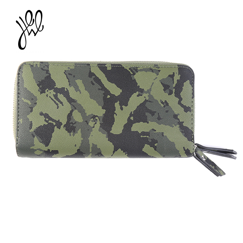 Casual Women Wallet Brand PU Leather Double Zippers Leisure Camouflage Card Holder Lady Purse 2 Zippers Female Wallets500656