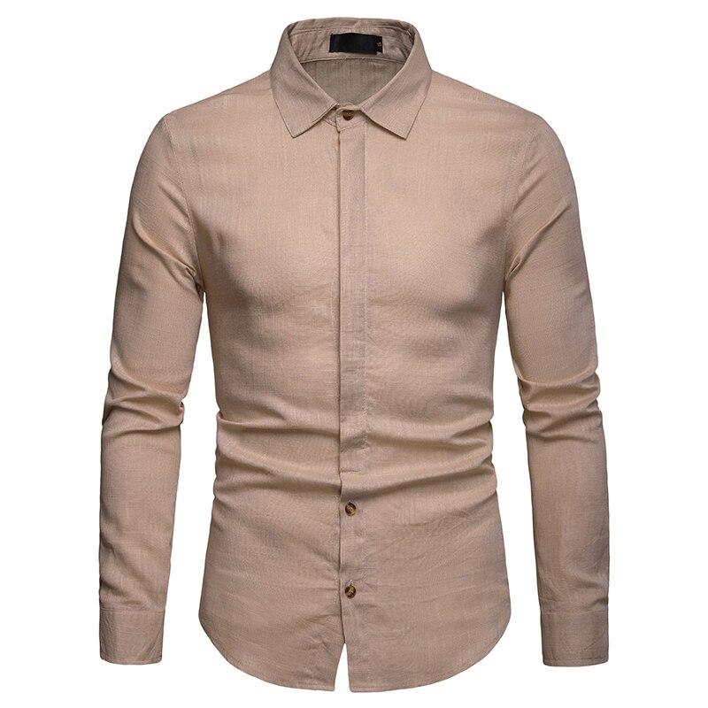 Mens Casual Cotton Linen Shirt 2019 Brand New Roll-up Sleeve Dress Shirt Male Slim Fit Long Sleeve Camisa Masculina Beige
