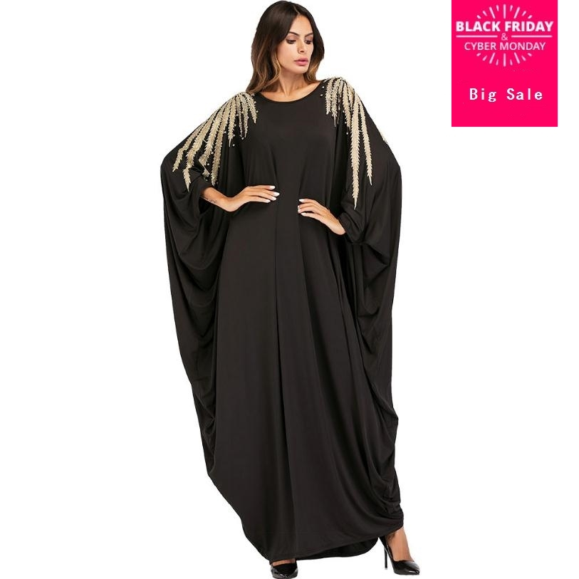 Abaya Black with Gold Lace Gold Stud,s on the edges Umbrella Flare Party Dress