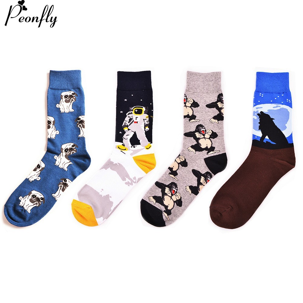 PEONFLY  Happy Funny Men's Socks High Quality Combed Cotton Long Colored Dress Socks Novelty Tube Skateboard Wedding Socks