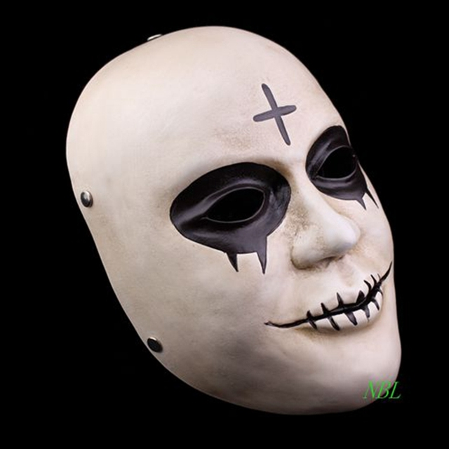 Horror Clown Cross Resin Masks Full Face Halloween Masquerade Costume Cosplay Props The Purge Mask With Box Adult Size