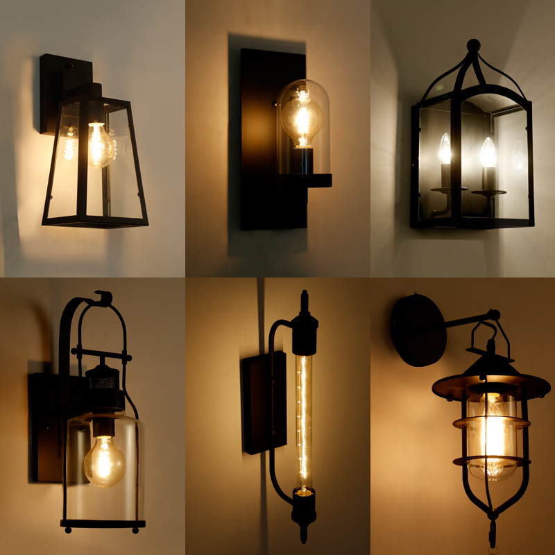 Fashion Wroguht Iron Water Pipe Wall Lamp Vintage Aisle Lights Loft Iron Wall Lamps Edison Incandescent Coffee Light Bulb