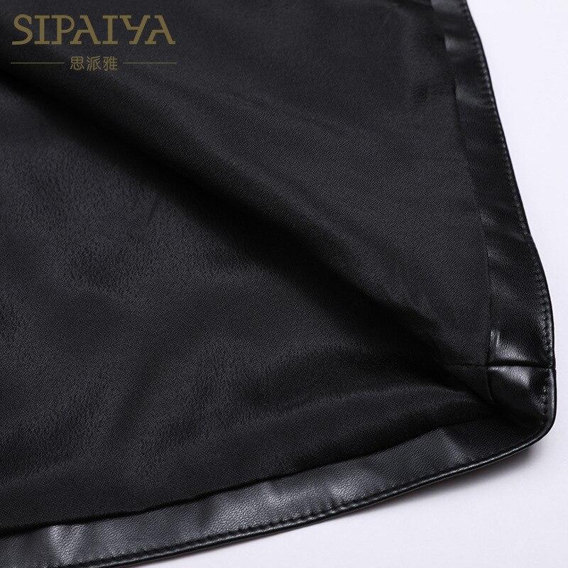 Paiya New Skirt Fashion Casual Slim Waist Fall Word Leather A FvvHrqSdWw