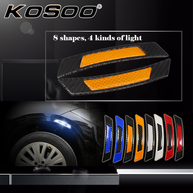 Kosoo Car Reflective Strip Sticker Safety Warning Light Protective Styling For Smart Two W451