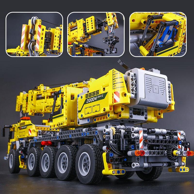 Новый 20004 2606 шт. моторная техника Мощность подвижный подъёмный кран Mk II Модель Строительство Наборы блоки кирпичи на день рождения LegoINGlys под...
