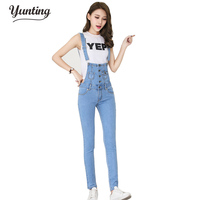Denim Dungarees Salopette for Women Rompers Womens Jumpsuit 2018 Conbinaison Macacoes Feminino Longo Jeans Female Overalls