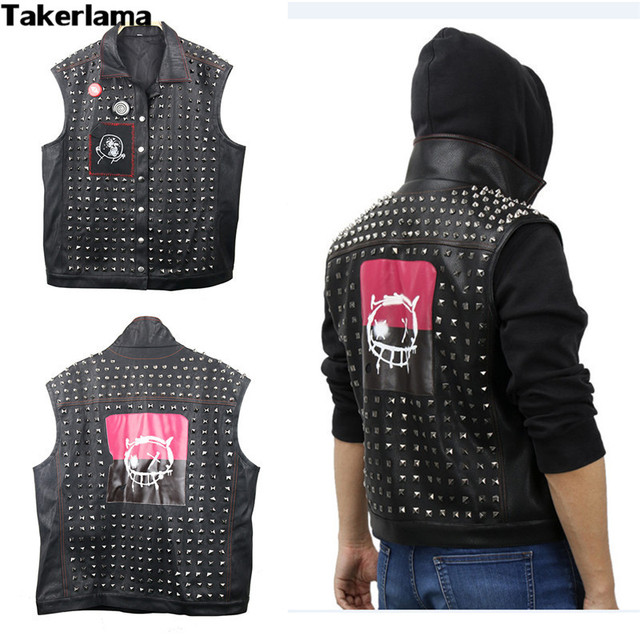 9eac9a76bc Takerlama Watch Dogs 2 Wrench Vest Marcus Cosplay Rivet Vest 2017 Halloween  Christmas Game Props Wrench Jacket with Free Badges
