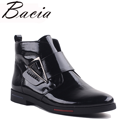 Bacia 2017 Ankle Boots Women Luxury Genuine Leather Boots Handmade Black Fashion Autumn Boots With Short Plush Women ShoesVXA019 bacia genuine leather boots short plush women shoes black simple style ankle boots with zipper handmade high quality shoes vd021