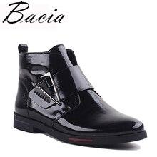 Bacia 2017 Botines lujo Cuero auténtico Botas hecho a mano negro moda Otoño  Botas con felpa corta mujeres shoesvxa019