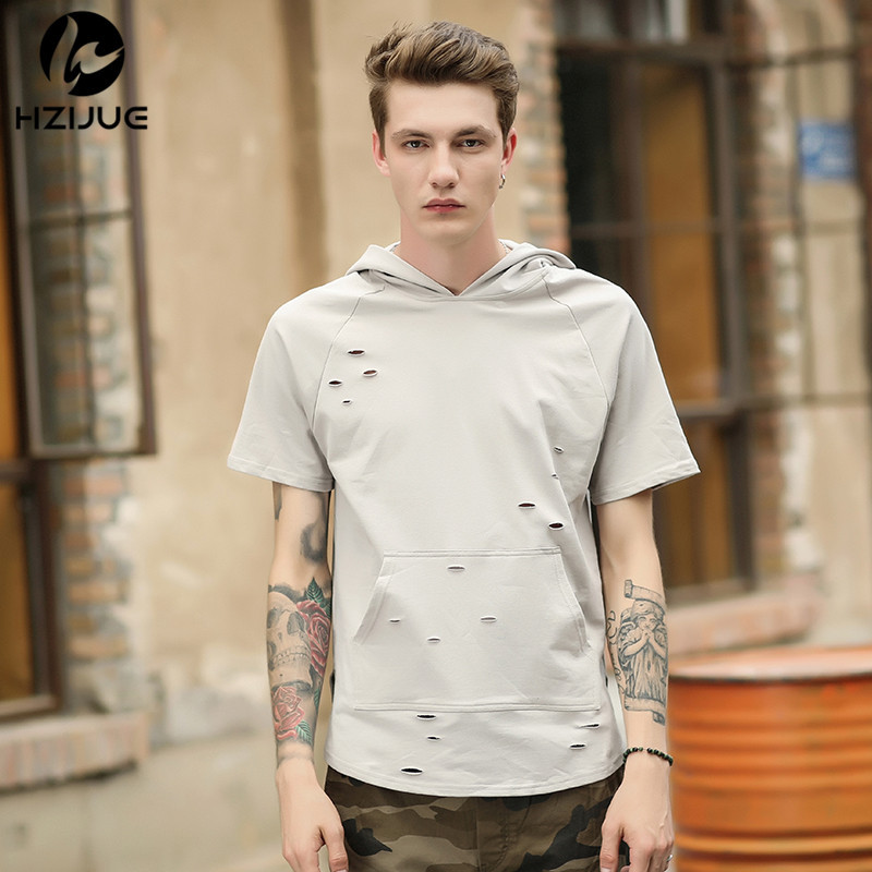 0df9b2fe99c8 2018 The new Europe and MeN Tshirt Summer Men Ripped Hole Loose Casual Tops  Fashion Summer T shirt Streetwear Hooded Tshirt-in T-Shirts from Men s  Clothing ...