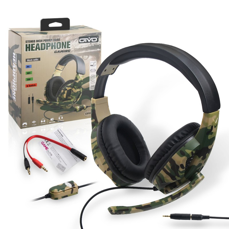 Camouflage Gaming Headphones Heavy Bass Stereo Headset Game Earphones for PS4/PS3/ONE/360/Switch/PC