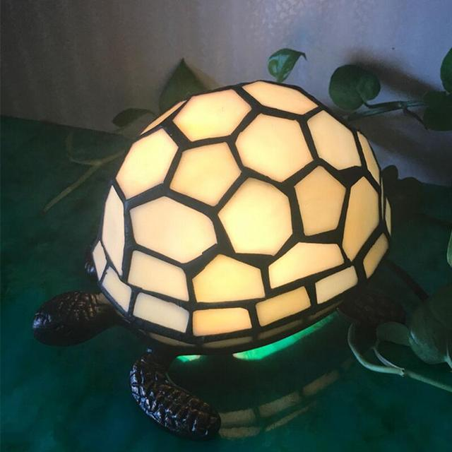 Retro Tortoise Table Lamp Tiffany Lamp Bedroom Night Light Bedside