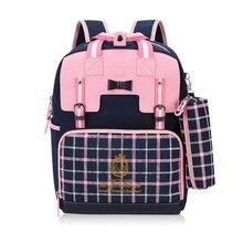 Купить с кэшбэком hot sale girls school backpack women travel bags bookbag mochila plaid bag children school bags for teenagers red pencil case