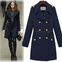 Autumn and winter new European and American long section Slim woolen coat fashion lapel Slim double breasted wool coat