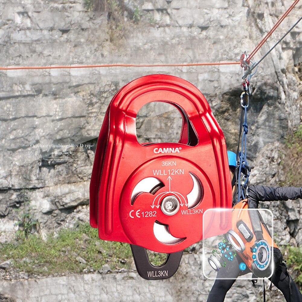36KN poulie d'escalade Double roulement à billes balançoire corde gréement matériel pour spéléologie alpinisme équipement d'escalade